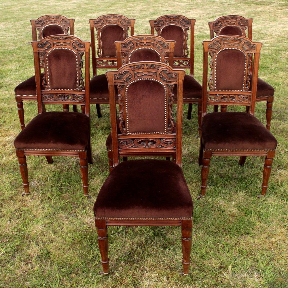 set 8 walnut high back art nouveau dining chairs antiques atlas