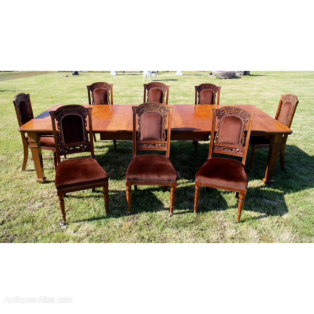 Set 8 Walnut High Back Art Nouveau Dining Chairs ...
