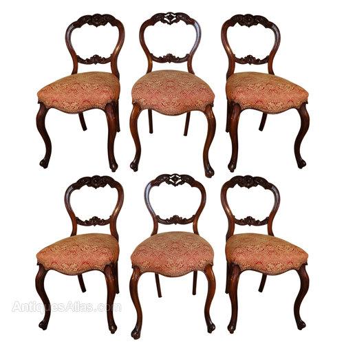 Set Of 6 Victorian Walnut Balloon Back Chairs ...