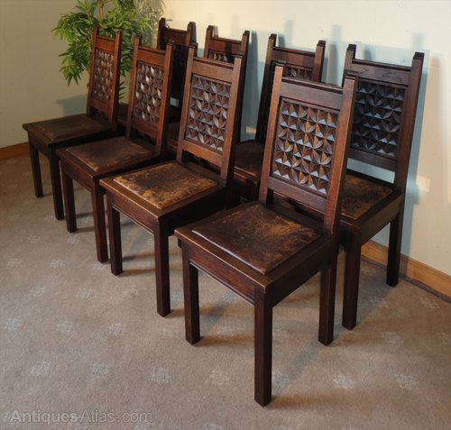 Set Of 8 Oak Leather Gothic Jacobean Country Dining Chairs