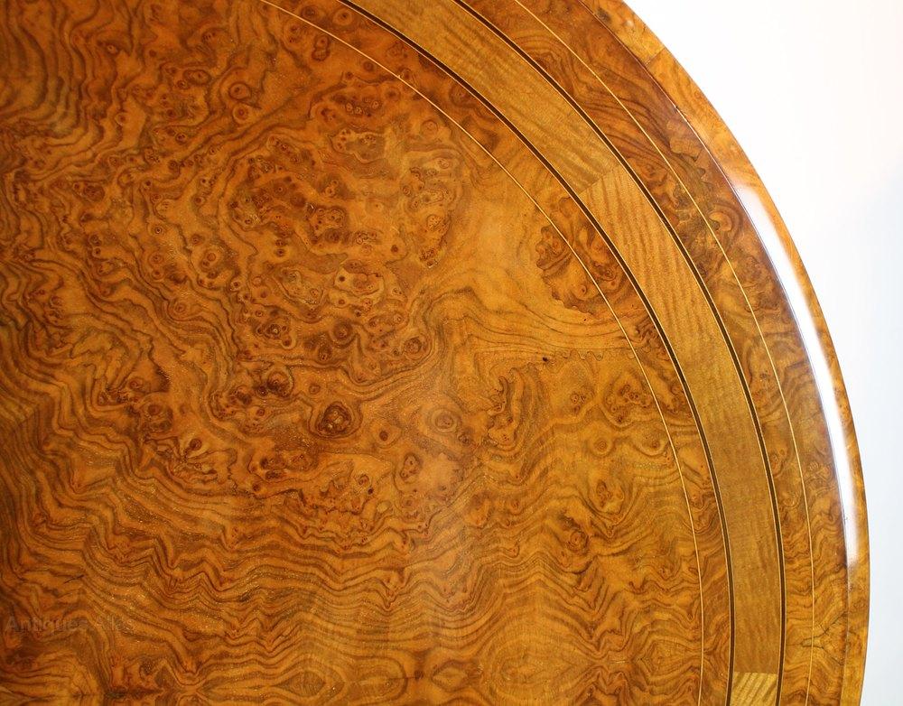 Victorian Burr Walnut Inlaid Circular Centre Table