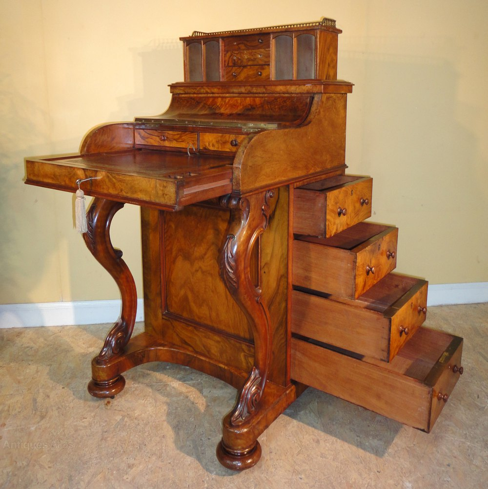 ... ANTIQUE DAVENPORT desk ... - Victorian Burr Walnut Piano Top Davenport - Antiques Atlas