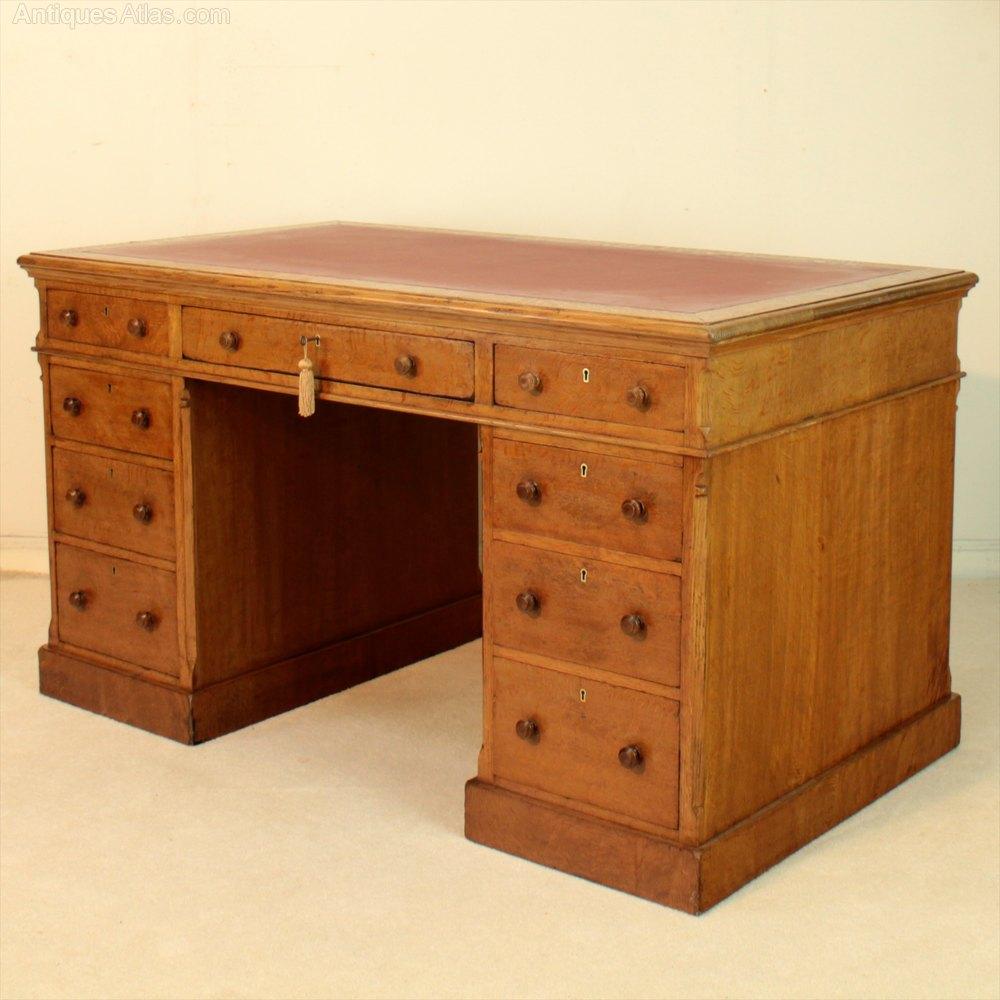 Victorian Gillows Oak Partners Pedestal Desk Antique