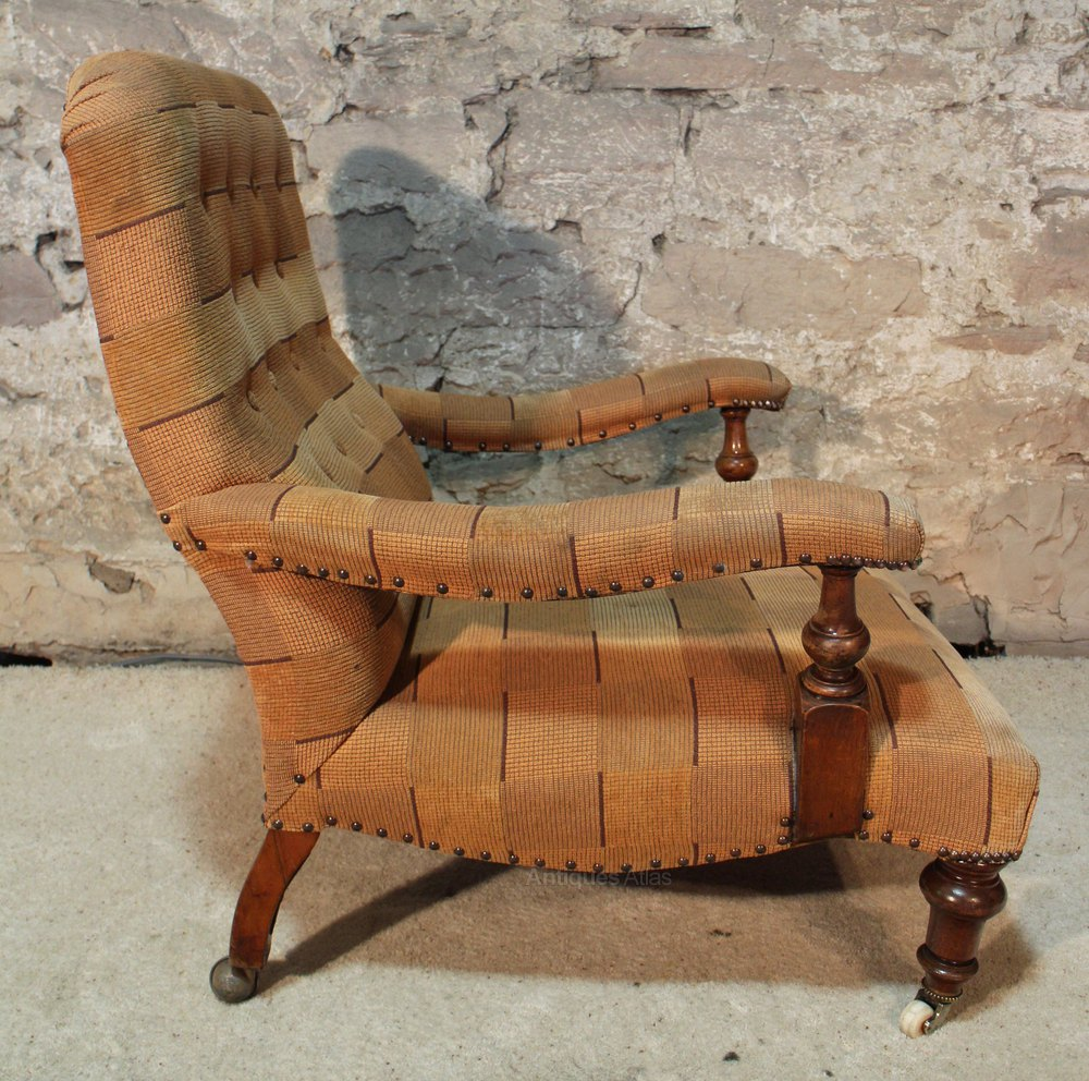... ANTIQUE LIBRARY CHAIR Victorian ... - Victorian Howard And Sons Style Library Chair - Antiques Atlas
