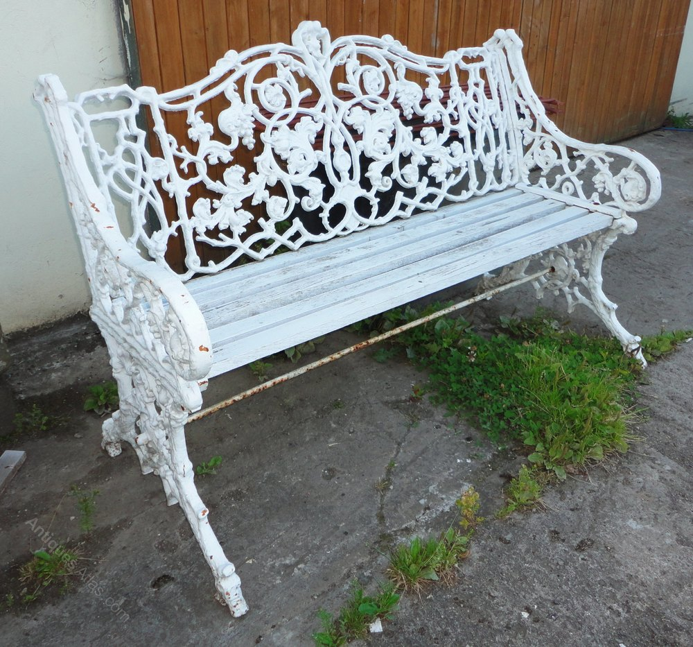 Victorian Rustic Pattern Cast Iron Garden Seat Antique Benches