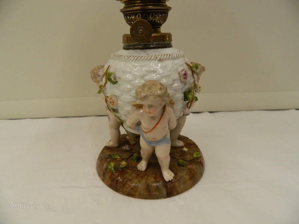 Antiques Atlas 19 Th Century Porcelain Cherub Oil Lamp