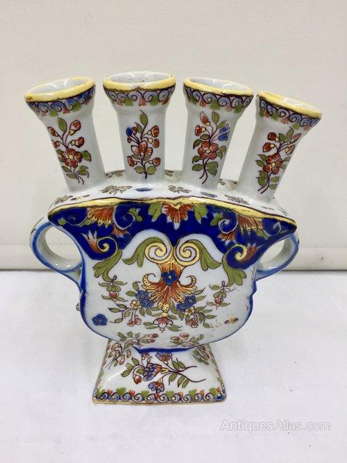 Antiques Atlas Antique Continental Faience Pottery Tulip Vase