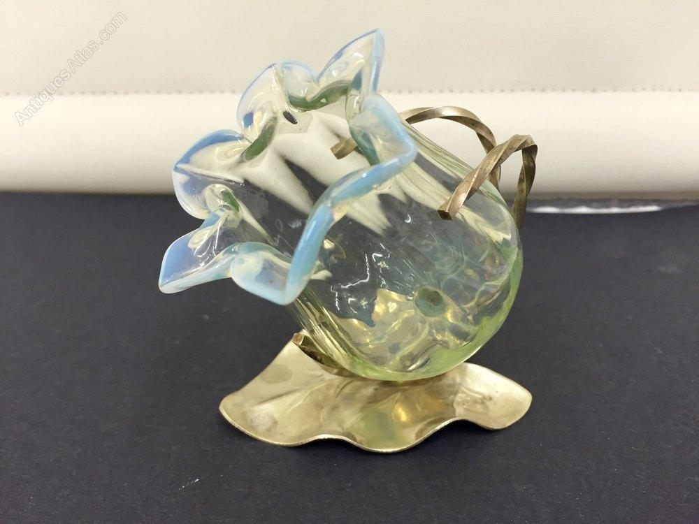 Antiques Atlas Antique Vaseline Glass Tulip Vase Epns Frame