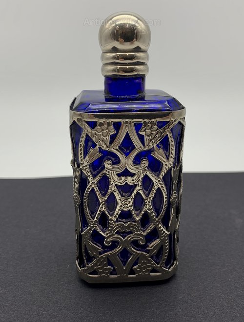 Old French Blue Glass Scent Bottle Circa 1925