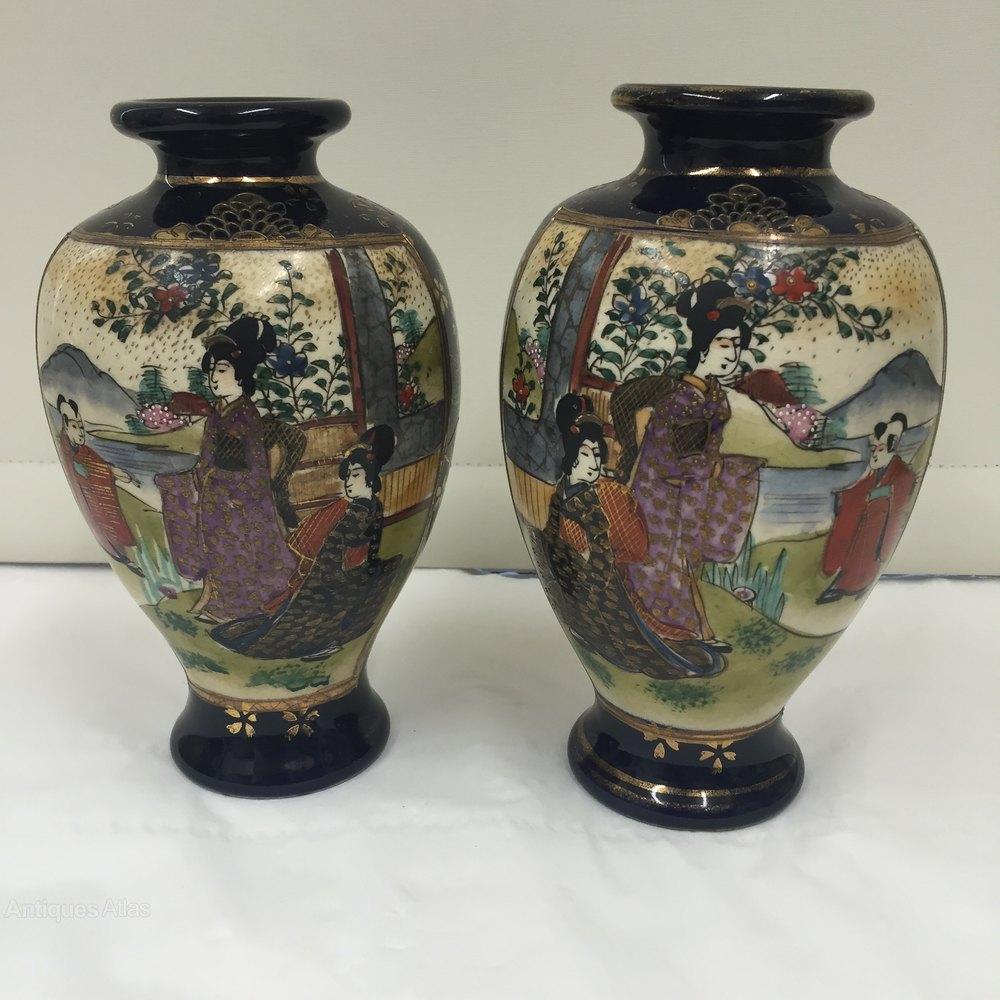 Antiques atlas pair antique satsuma pottery vases circa 1890 pair antique satsuma pottery vases circa 1890 reviewsmspy