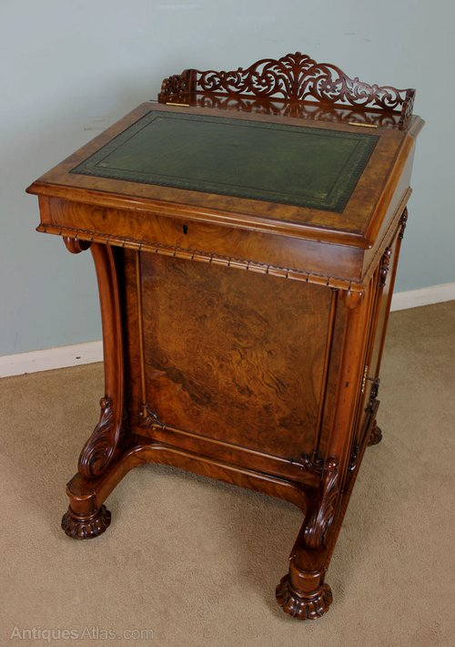 Antique Burr Walnut Davenport Writing Desk - Antique Burr Walnut Davenport Writing Desk - Antiques Atlas