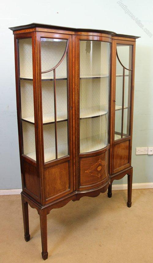 Antique Inlaid Mahogany Display Cabinet Antique Display Cabinets ... - Antique Inlaid Mahogany Display Cabinet - Antiques Atlas