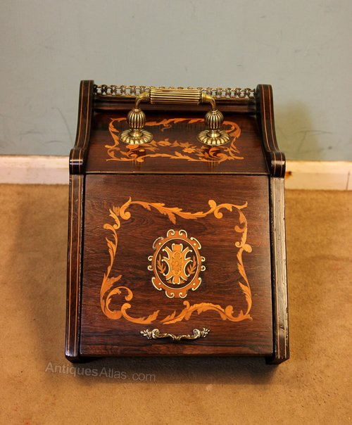 Antique Inlaid Rosewood Coal Box