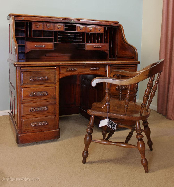 Antique Mahogany Roll Top Desk Antique Roll Top Desks ... - Antique Mahogany Roll Top Desk - Antiques Atlas