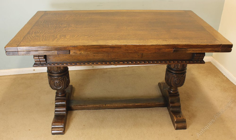 Antique Oak Draw Leaf Refectory Dining Table