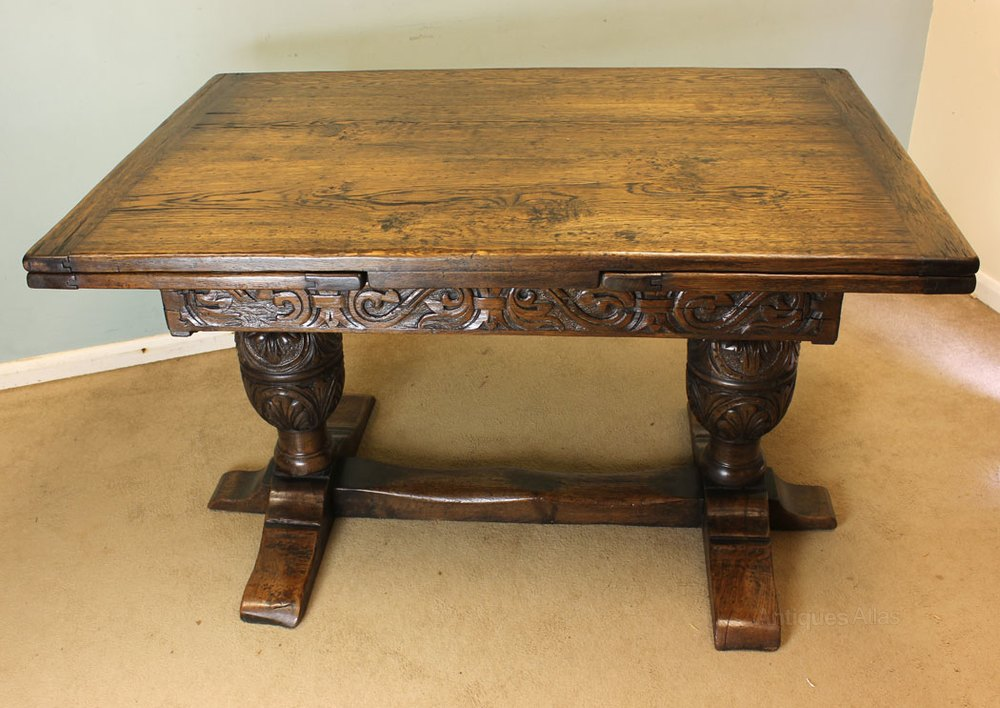 Antique Oak Refectory Draw Leaf Dining Table