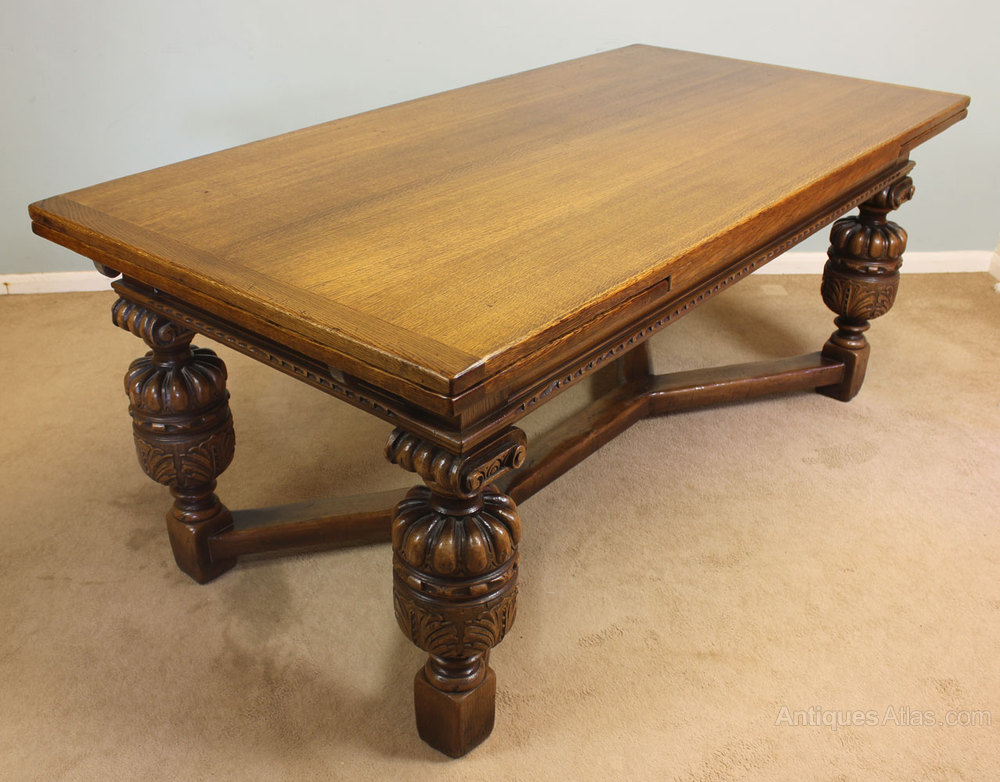Antiques Atlas - Antique Oak Refectory Draw Leaf Dining Table