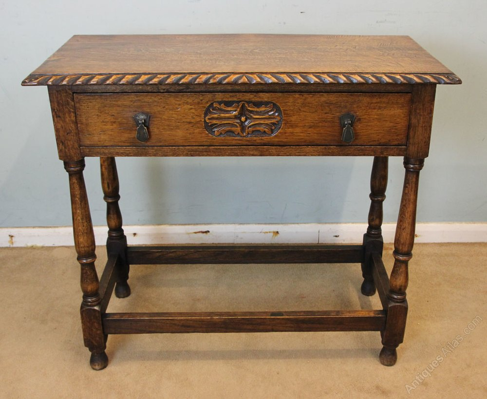 Antique Oak Table ~ Antique oak side table hall antiques atlas