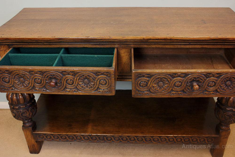 Luxury Antique Oak Side Table Serving Table Antique Serving Tables