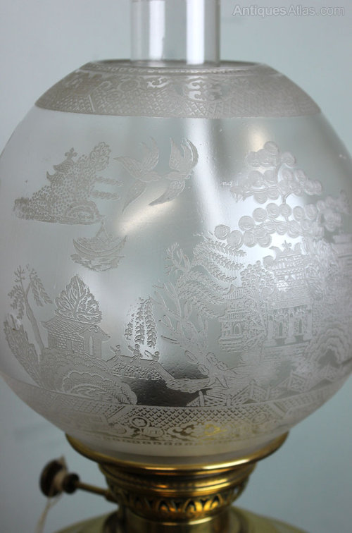 Antiques Atlas Antique Oil Lamp Shade Willow Pattern Decoration