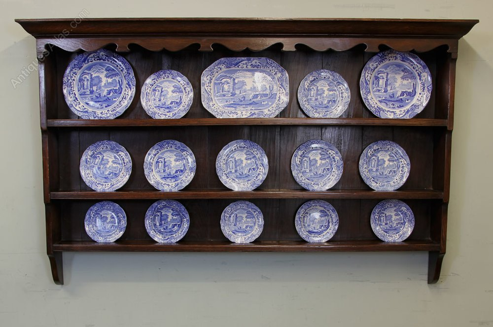 antique plate rack    hanging wall shelves
