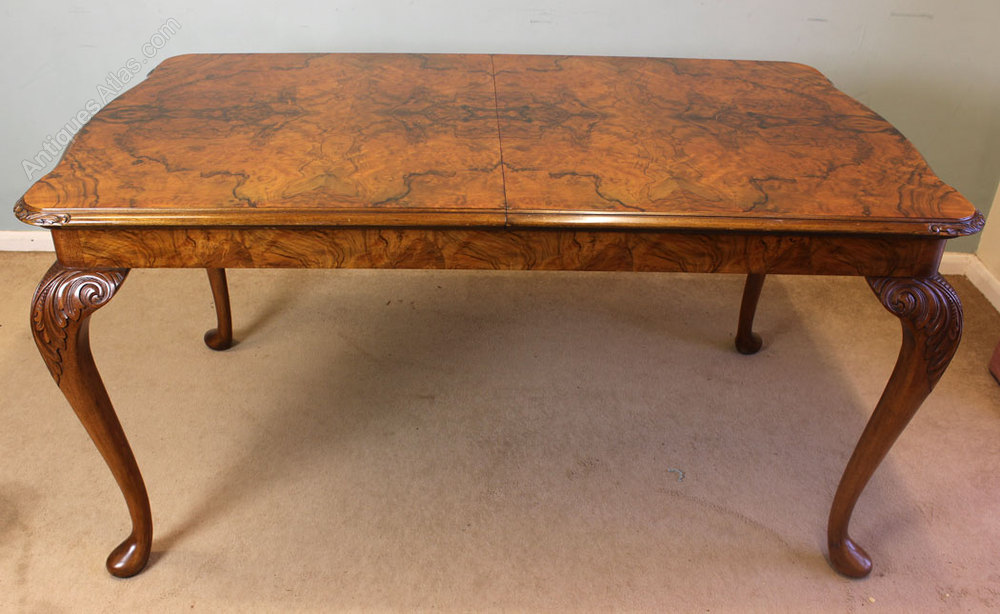 Antique Queen Anne Style Burr Walnut Dining Table