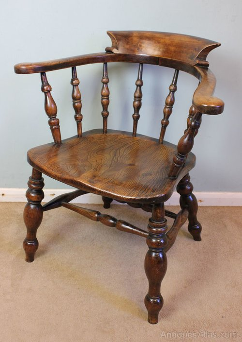 Antique Victorian Smokers Bow Captains Desk Chair ... - Antique Victorian Smokers Bow Captains Desk Chair - Antiques Atlas