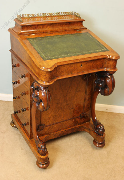 Antique Victorian Walnut Davenport Writing Desk Antiques