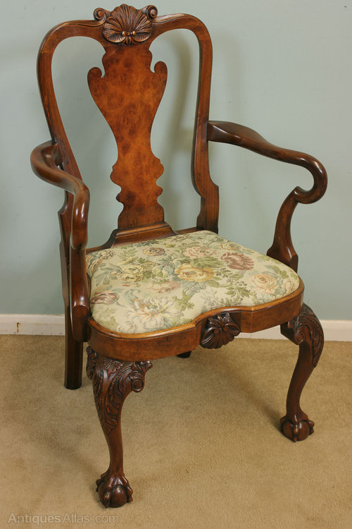 Antique Walnut Carver Desk Chair - Antique Walnut Carver Desk Chair - Antiques Atlas