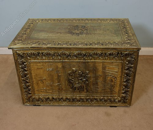 & Antiques Atlas - Embossed Brass Coal / Log / Storage Box
