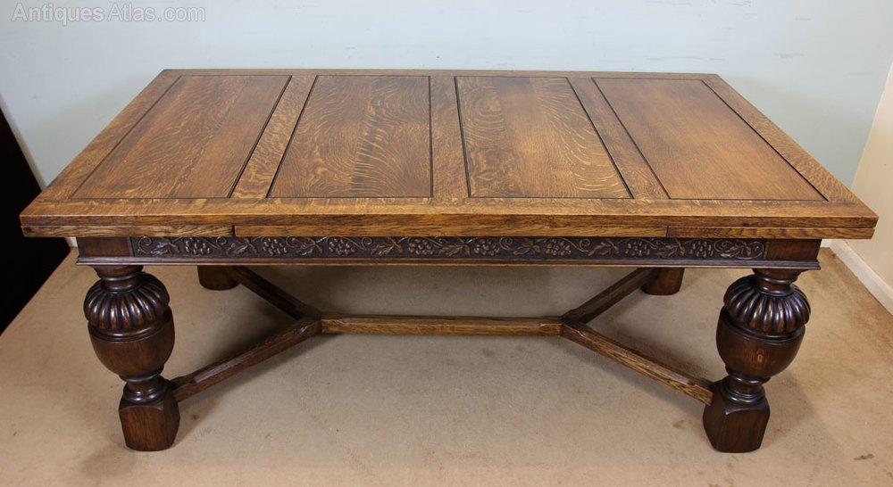 Large Oak Draw Leaf Dining Table Antique Draw Leaf Tables ...