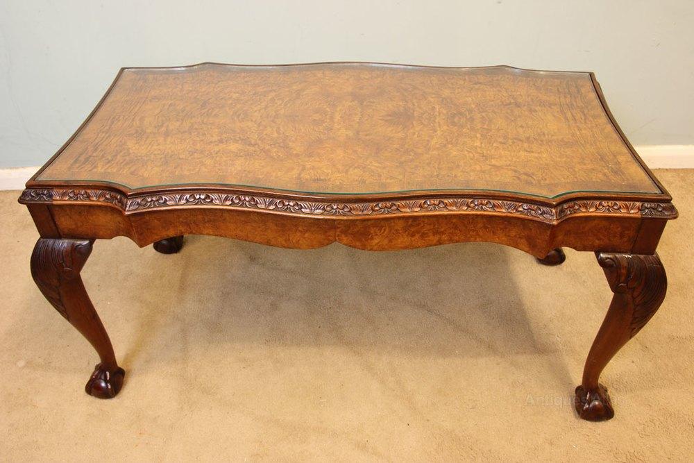 Queen Anne Style Burr Walnut Coffee Table ...