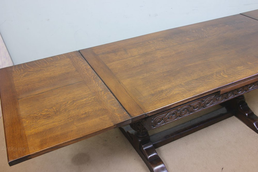 Refectory Oak Draw Leaf Farmhouse Dining Table Antiques
