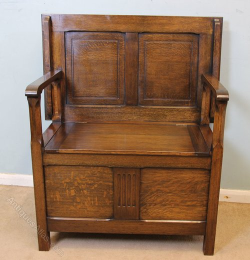 Small Antique Oak Monks Bench, Hall