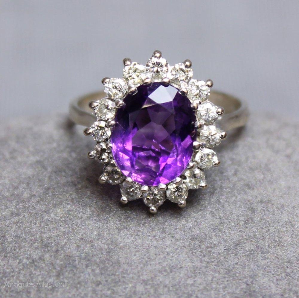 Vintage Amethyst Diamond Ring