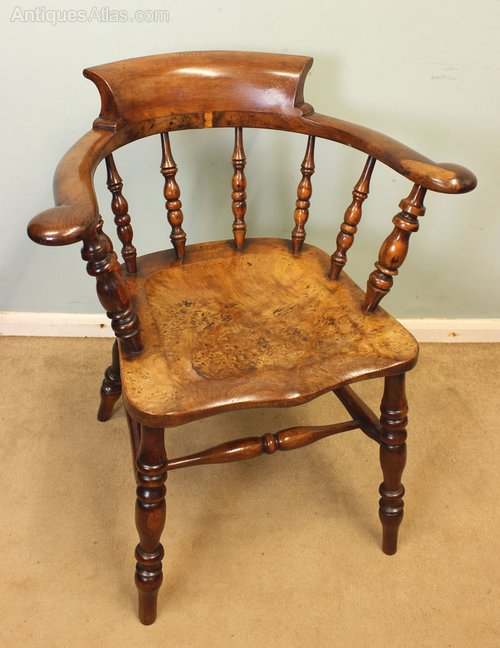 Yew Wood Captains / Smokers Bow Windsor Chair ...