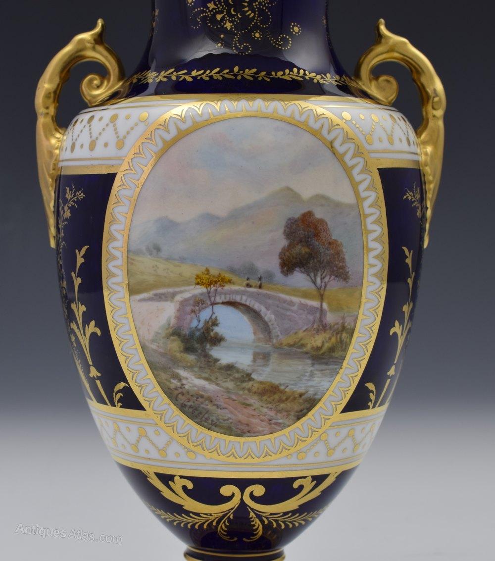 Antiques atlas royal crown derby vase signed cuthbert gresley royal crown derby vase signed cuthbert gresley ceramics royal crown derby antique porcelain artist reviewsmspy