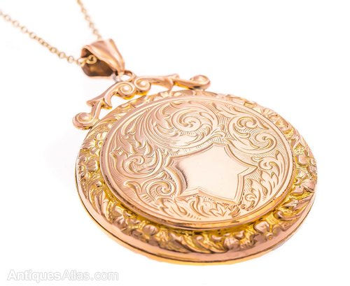 gold locket lockets round yellow diana engraved