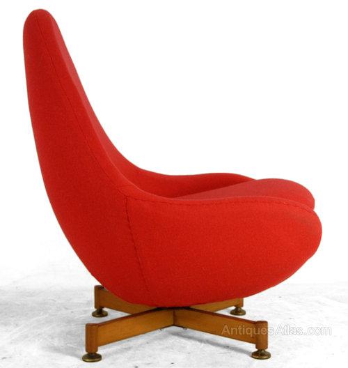 1960u0027s Red Swivel Chair ...