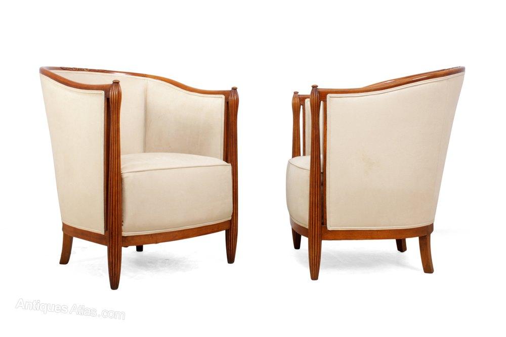A Pair Of French Art Deco Salon Chairs, Deco Salon Furniture