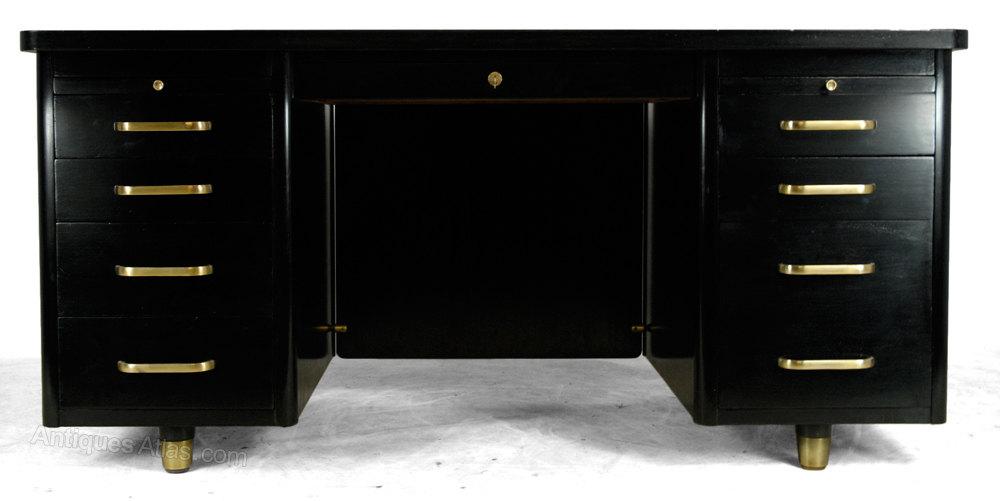 Art Deco Black Desk Antique