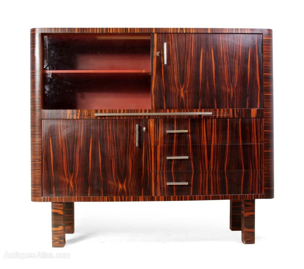 Art Deco Cabinet In Macassar Ebony, German, ...