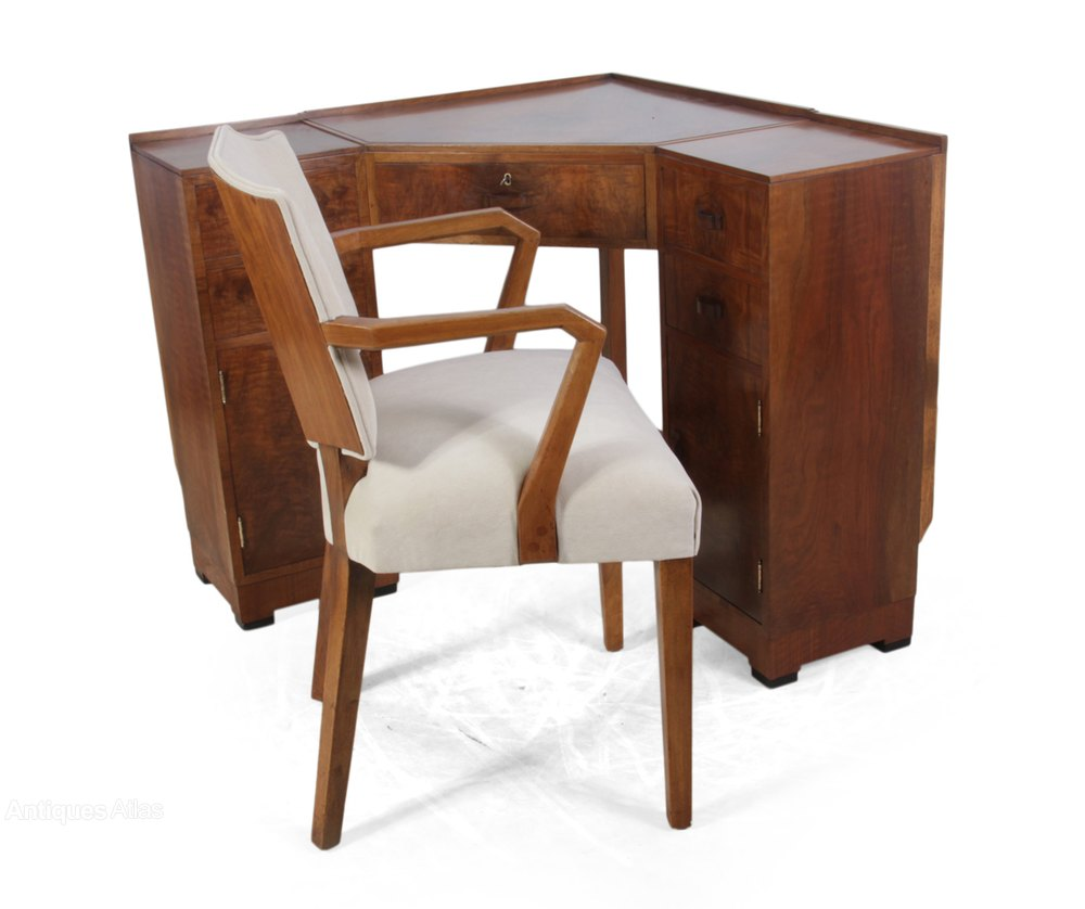 Art Deco Corner Desk And Chair By Heals, Art Deco Corner Writing Desk
