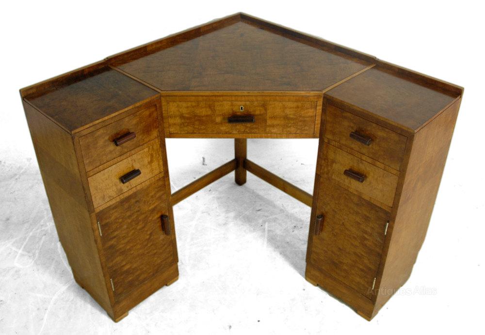 Art Deco Corner Desk In Maple C1930, Art Deco Corner Writing Desk
