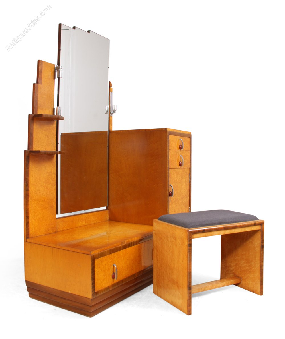 art deco dressing table stool in karelian birch antiques atlas. Black Bedroom Furniture Sets. Home Design Ideas