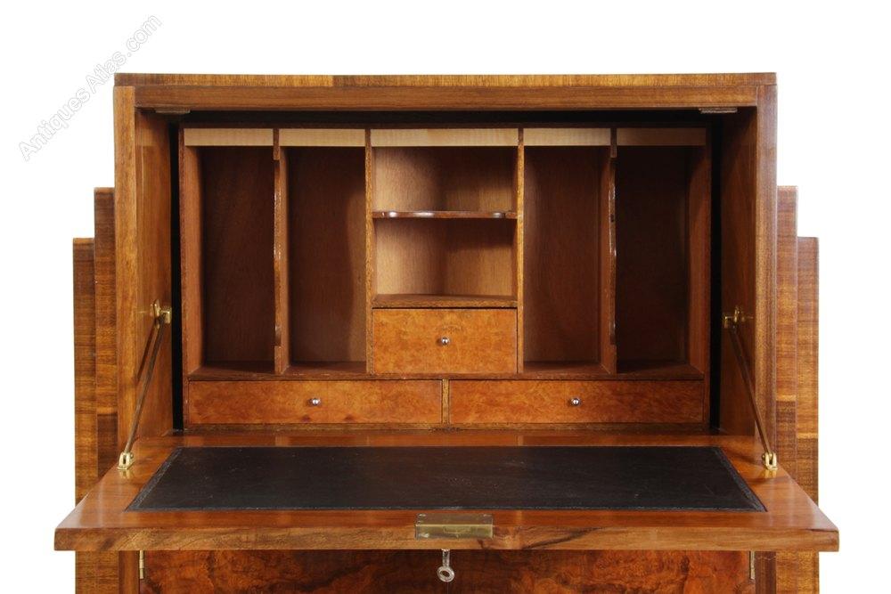 art deco walnut bureau c1930 antiques atlas. Black Bedroom Furniture Sets. Home Design Ideas