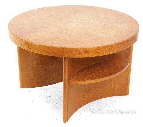 Vintage Maple Coffee Table: Art Deco Birds Eye Maple Coffee Table
