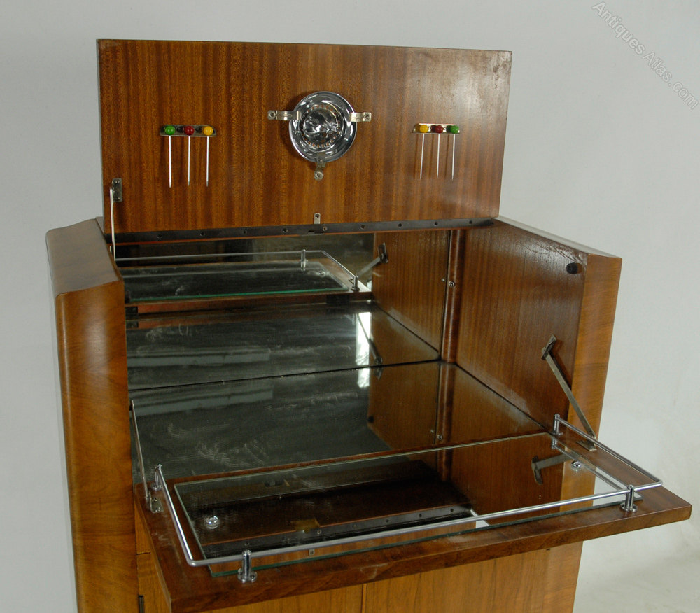 Marvelous Art Deco Walnut Cocktail Cabinet By Rivington ...