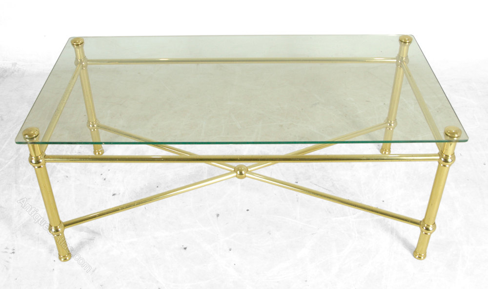 Antiques Atlas Brass Coffee Table With Glass Top