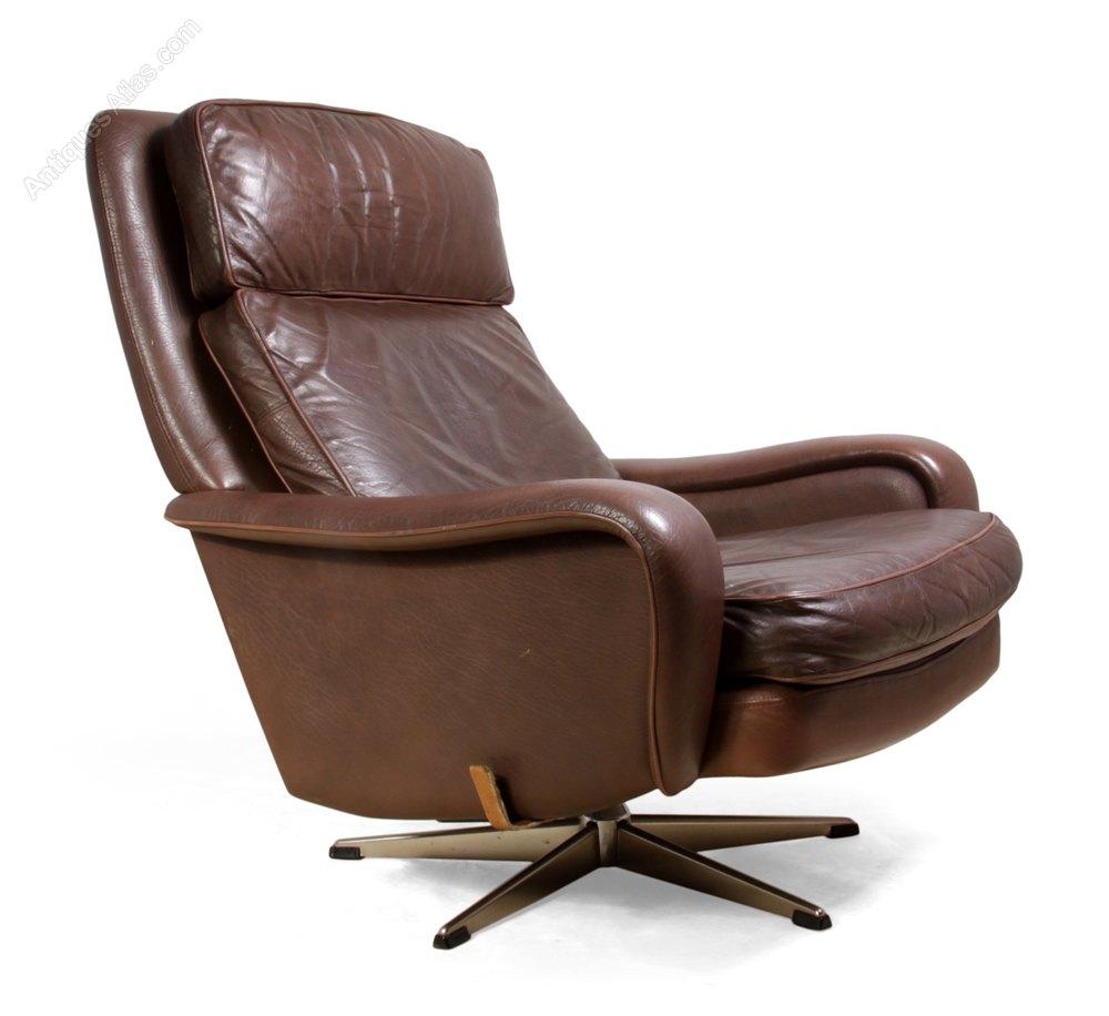 Danish Leather Reclining Swivel Man Cave Chair C1970 ...